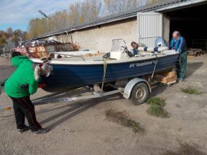 Boot im Winterlager bei ASG Muecheln