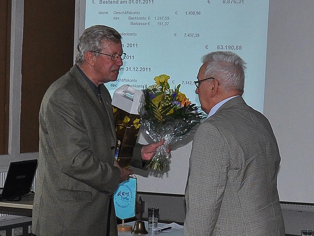 Herr Hirsch dankte im Namen des Vorstandes den langjährigen Vorstandsmitgliedern Herrn Jürgen Feyerabend (Schatzmeister) und Frau Dorothea Löbmann (Öffentlichkeitsarbeit) für die geleistete Arbeit
