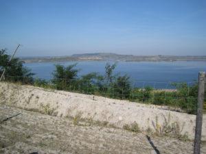 Blick nach Norden zur Halde Blösien und über den See nach Frankleben